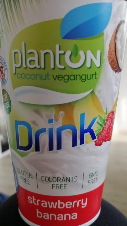 Fotografie - coconut vegangurt drink strawberry banana Planton