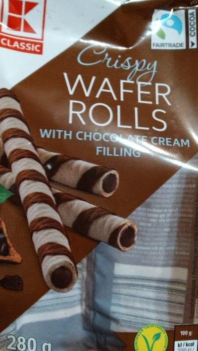 Fotografie - Crispy wafer rolls with chocolate cream filling