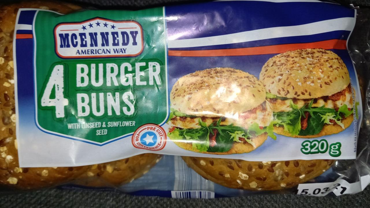 Fotografie - 4 Burger Buns with linseed & sunflower seed McEnnedy American Way