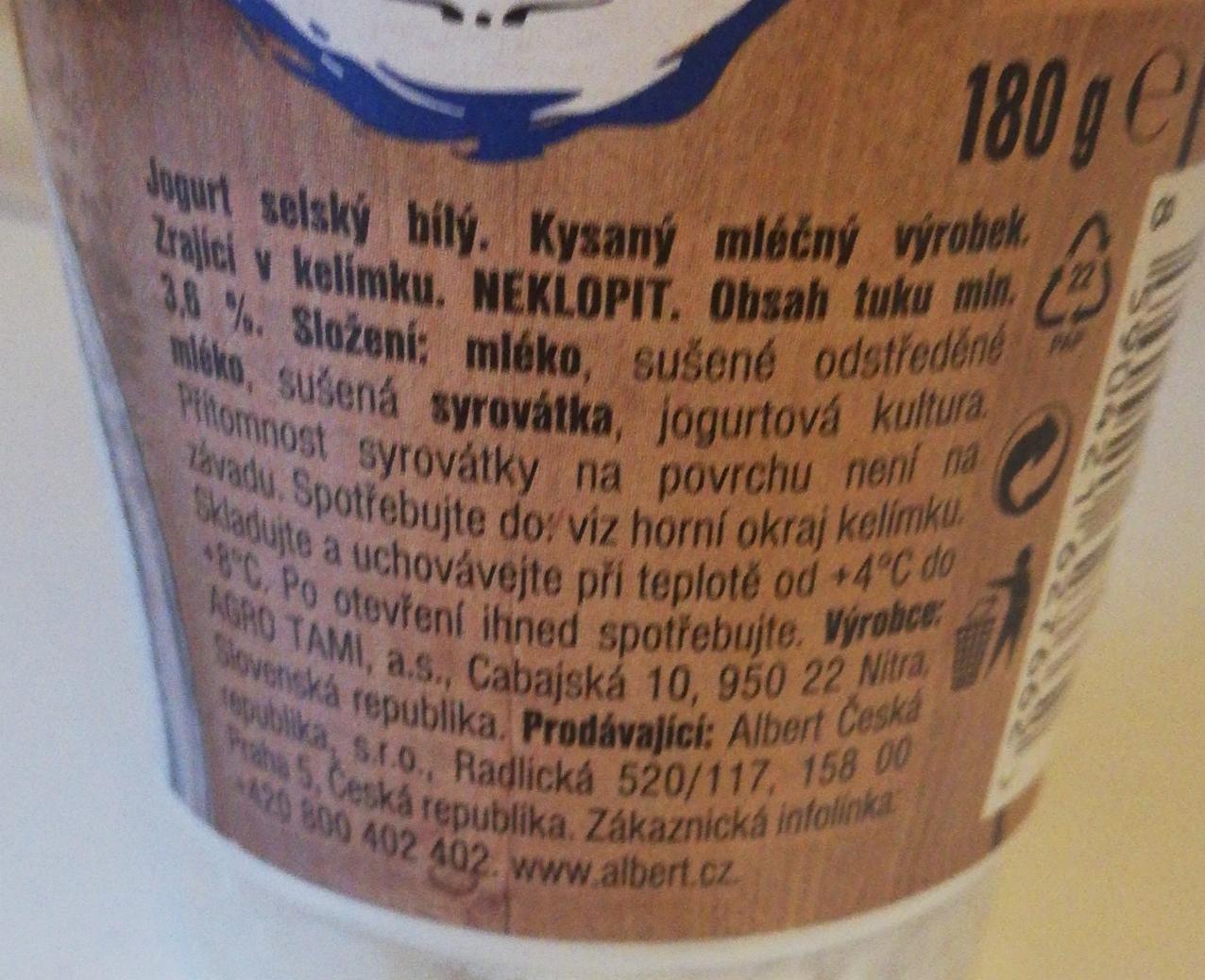 jogurt selský bílý Albert - kalorie, kJ a nutriční hodnoty..