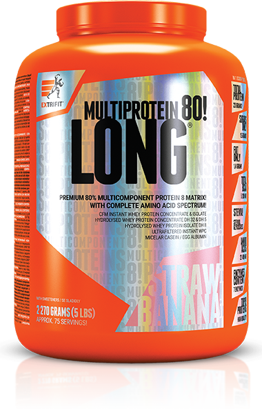 Fotografie - LONG 80 MULTIPROTEIN strawberry banana Extrifit