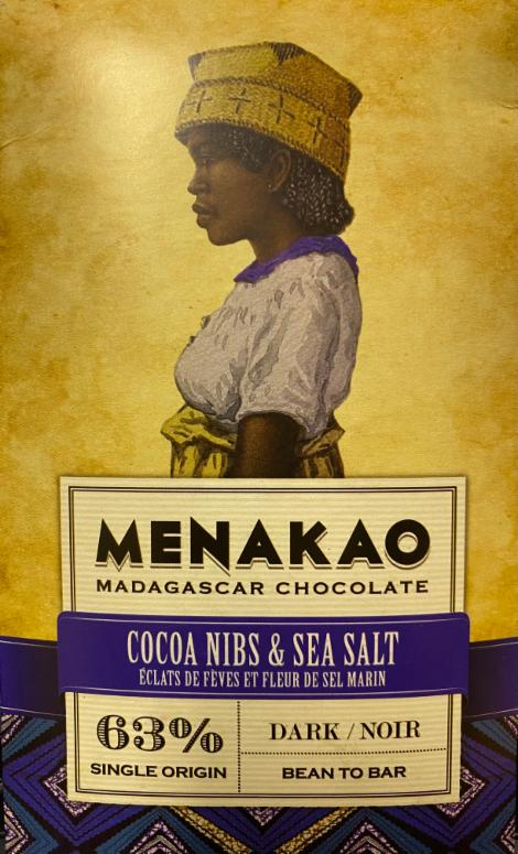 Fotografie - Madagaskar Chocolate 63% dark Cocoa nibs & Sea Salt Menakao