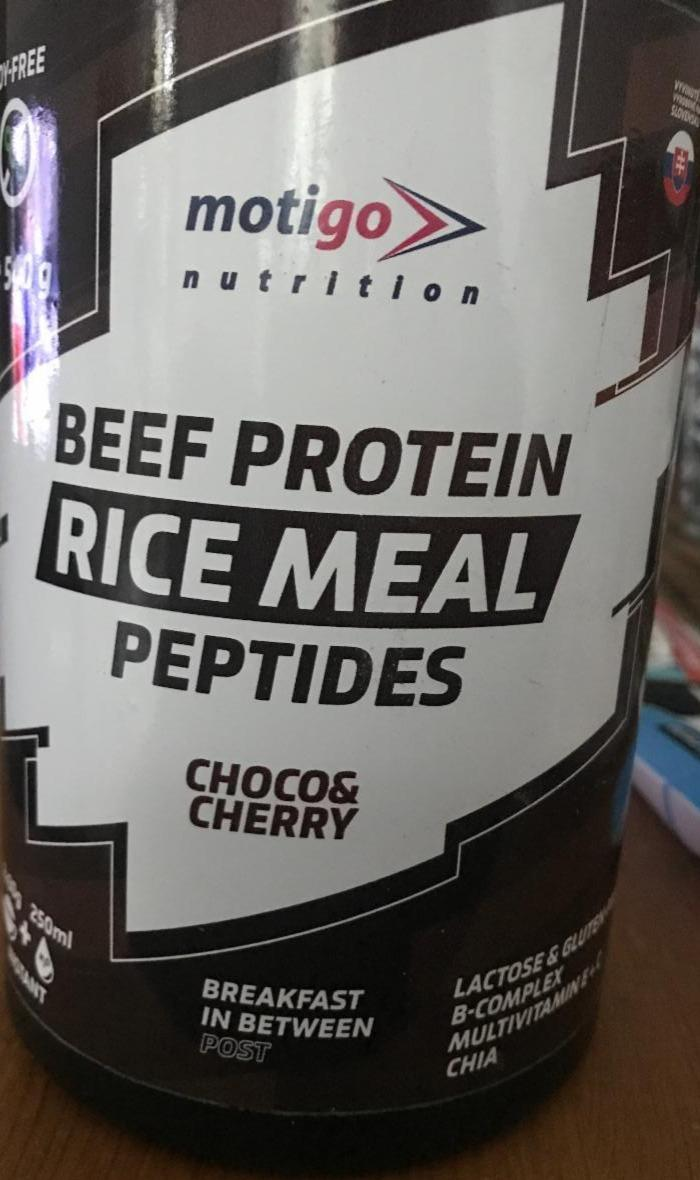 Fotografie - Beef Protein Rice Meal Peptides Choco & Cherry Motigo Nutrition