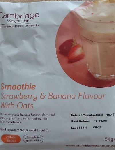 Fotografie - Smoothie strawberry & banana flavour with oats Cambridge Weight Plan