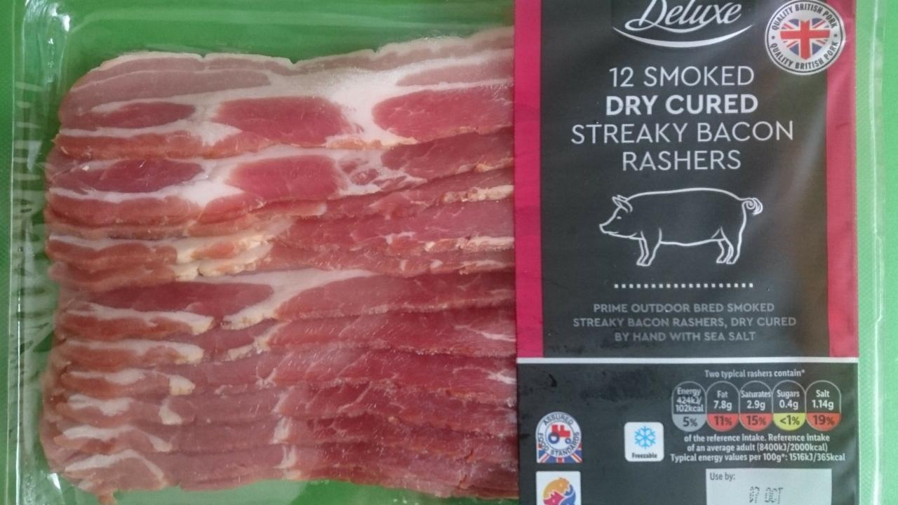 Fotografie - DELUXE Smoked dry cured streaky bacon rashers